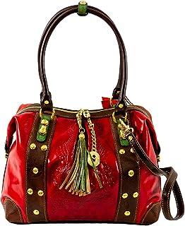 Marino Orlandi - Borsa a tracolla da donna in vera pelle con manico superiore, design a coccodrillo rosso goffrato con nappa