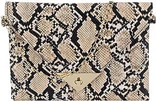 Gabrine Women Snakeskin Pattern Envelope Clutch Bag Purse Retro Evening Party Bag with Metal Chain