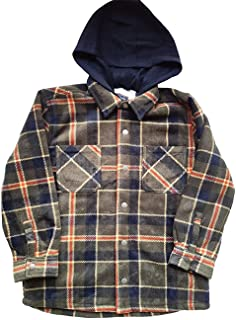 Youth Super Plush Flannel Shirt Kids Jacket Sherpa Lined with Hood (X-Small 5/6) Green