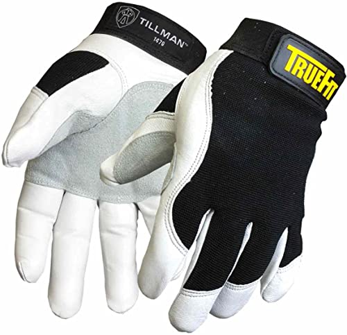 new arrival Tillman Large Black and White sale TrueFit new arrival Goatskin and Spandex Full Finger Mechanics Gloves with ElasticHook and Loop Cuff outlet online sale