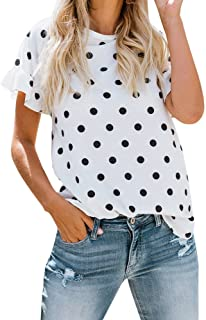 Limsea Women T-Shirt Tops Blouse 2019 Sleeve Half Loose Lady Breathable O-Neck Printing Dot Short