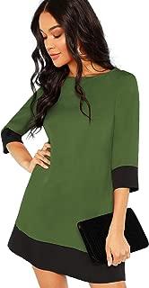 Women's 3/4 Sleeve Color Block Shift Tunic Dress