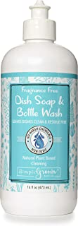 SimpliGrown Bath Co. Natural, Sulfate-Free Dish Soap and Bottle Wash, Fragrance Free, 16 Fl Oz