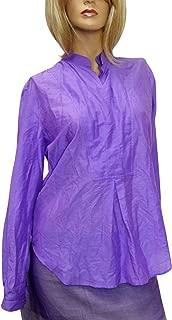 Gold Buckle Purple Cotton/Silk Shirt Top 281460 (42)