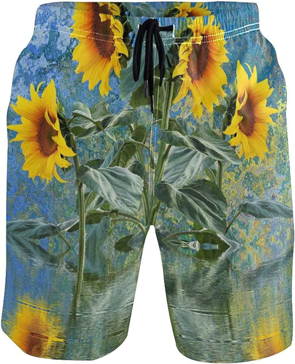 CENHOME Mens Swim Trunks Painted Sunflower Plant Water Blue Beach Board Shorts