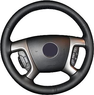 Loncky Genuine Leather Steering Wheel Cover for Chevrolet 2008-2013 Silverado 1500 / Silverado 2500 3500/ 2007-2014 Tahoe/2007-2014 Suburban 1500 /2007-2013 Avalanche 1500 /2009-2015 Traverse /Express