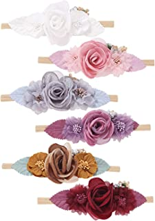 inSowni 6 Pack Delicate Flower Super Stretchy Nylon Headbands Hairbands Hair Accessories Ties for Baby Girls Toddlers Newb...