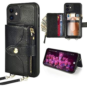 iPhone12 アイフォン12Pro用 6.1ケース ZVE カード収納 札&コイン 背面手帳型 コインポケット スタンド機能 レザーケース 2way ベルト&ストラップ付き 財布型カバー ICカード入れ 2020新型アイフォン12 プロ/アイフォン12PRO 兼用 6.1インチ(ブラック)