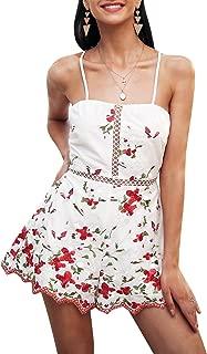 Simplee Apparel Women's V Neck Emboridered Floral Romper Jumpsuit Playsuit