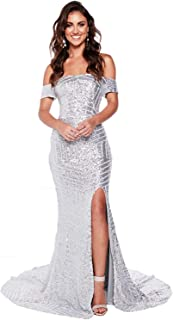 Womens Off Shoulder Prom Dresses Mermaid Sequins Evening Formal Gown with Silt OFSP171