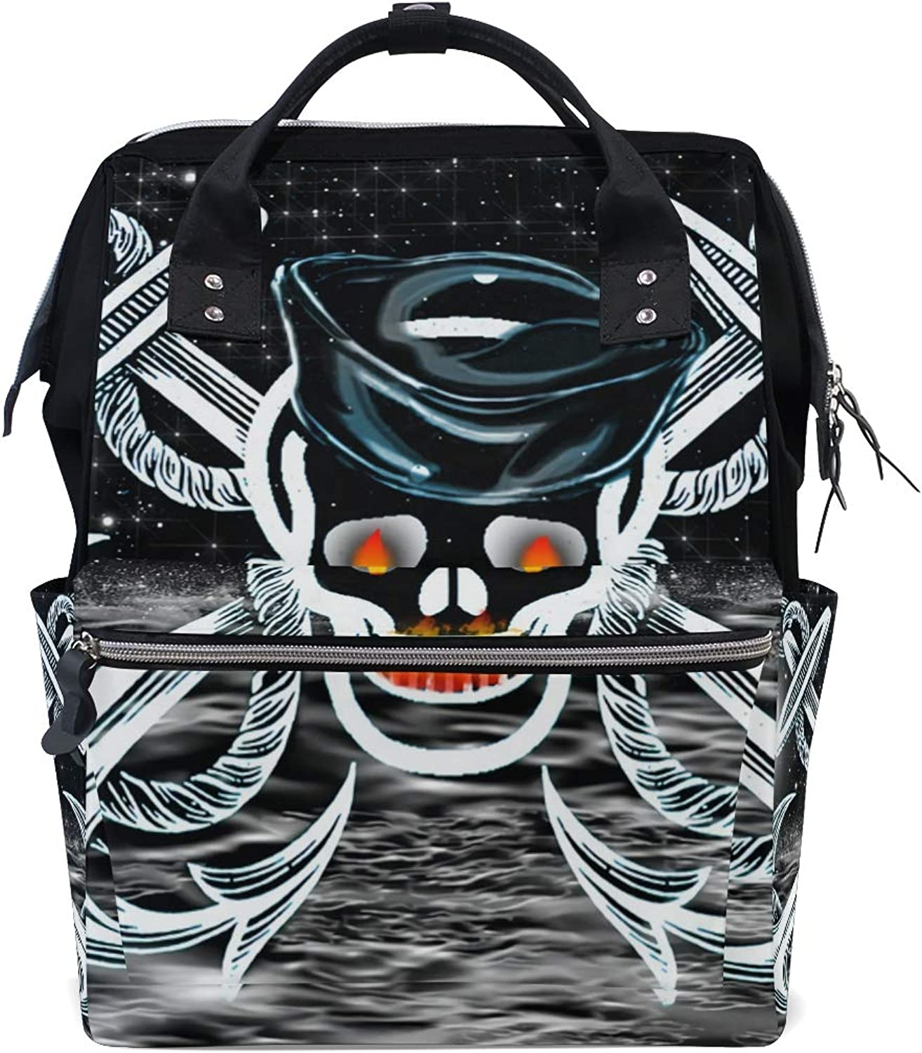 FANTAZIO Backpacks Anchor with Skull and Moon School Bag Canvas Daypack