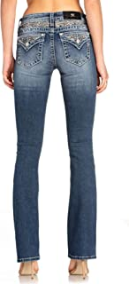 Miss Me Women's Chloe Boot Cut Jeans with Embroidered Designs on Faux Flap Pocket
