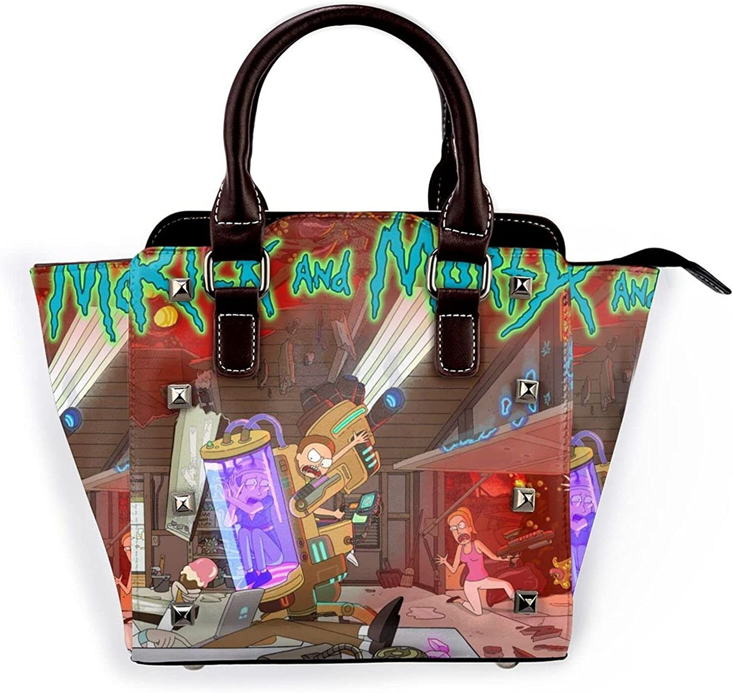 Rick Special sale item And Morty Womens Leather Rivet Tote Seattle Mall Bag C Handbags Shoulder