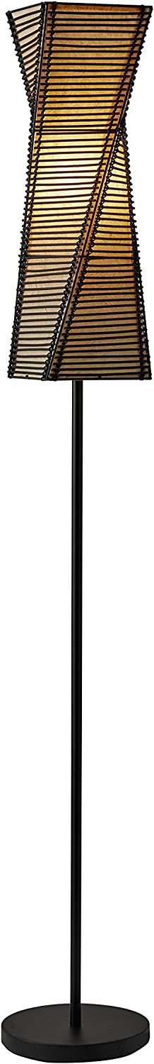 Adesso 4047-01 Stix 68 in. Floor Lamp, Black, Smart Outlet Compatible - Standing Lamp with Twisted Structure. Lighting Accessory