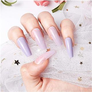 24 pieces False Nail Full Cover Fake Nail Crystal Elegant Pink Gradient French Short Nails Ellipse Shape Short Fake Nail (...