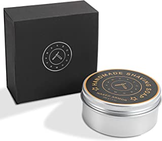 Handmade Natural Organic Shave Soap For Men, Large Tin 7oz, Rich Creamy Lather. Made With Olive Oil, Coconut Oil, Palm Oil, Shave Butter, Beeswax for Dry Sensitive Skin. Organic Shaving Cream Hydrate