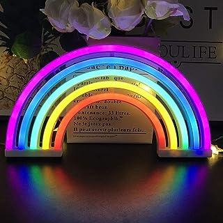 Luz de Neón Arco Iris , Señales Luminosas LED ,Lámpara de Pared Alimentada por Batería o USB ,Iluminación Nocturna para Navidad, fiesta, bar