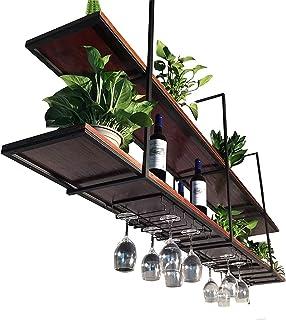 Casier à vin de Plafond pour Restaurant rétro 2 Niveaux, étagères flottantes de Famille Industrielle Noir, Support de Rang...