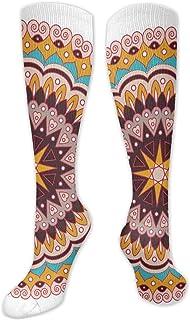 Fuliya, Calcetines altos de compresión monocromáticos con patrón continuo de diseño antiguo nostálgico, calcetines para mujeres y hombres, lo mejor para correr, atletismo, senderismo, viajes, vuelo.