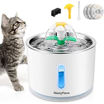 NautyPaws Cat Water Fountain Stainless Steel, Automatic Dog Water Dispenser 81oz/2.4L Pet Fountain with 3 Replacement Filters, Water Level Window with LED Light