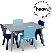 Delta Children Kids Chair Set and Table (4 Chairs Included), Grey/Blue