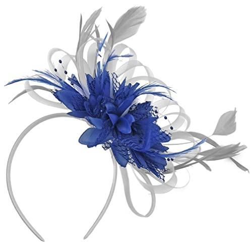 19db926552238 Silver and Royal Blue Net Hoop Feather Hair Fascinator Headband Wedding  Royal Ascot Races
