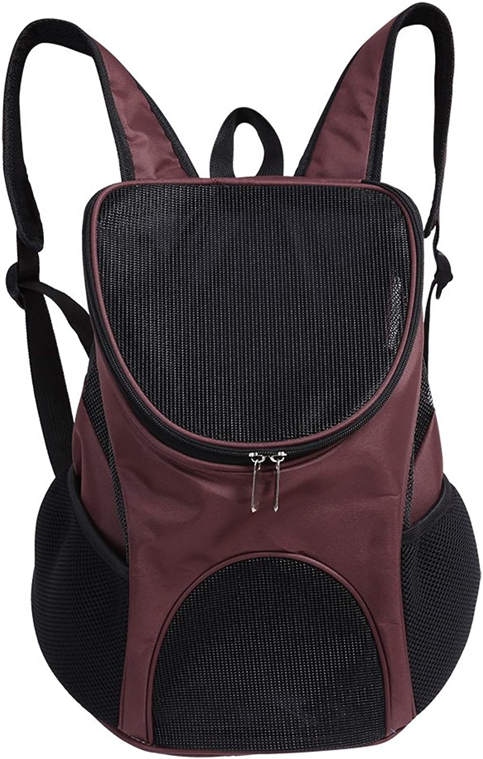 Filfeel Pet Backpack, Outdoor Cat Dog Puppy Travel Carrier Ventilated Mesh Double Shoulder Bag (Coffee)