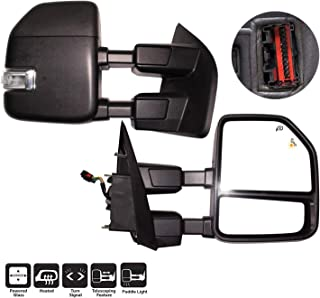 AERDM New towing mirror Black Housing with Temperature sensor fit Ford Super Duty F-250 F-350 F-450 F-550 2017 2018 2019 w/Blind Spot with Turn Signal,Clearance and Auxiliary Lamp
