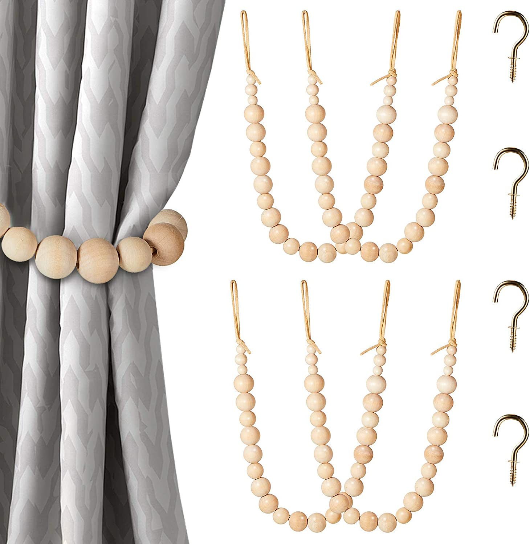 Wood Bead Cheap SALE Start Curtain Tieback unisex Rope Beaded Farmhouse Tie
