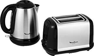 Moulinex Subito 3 Kettle 1.7L S.Steel 2200W (BY540D27) and Moulinex Subito 3 Toaster Ss (LT260827), Black