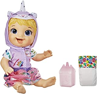 Hasbro E9423 Baby Alive- Tinycorns Blonde Hair Doll with Unicorn Accessories- Drinks & wets- Kids nuturing toys- ages 3+, ...