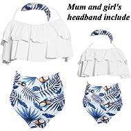 2Pcs Mommy and Me Matching Family Swimsuit Ruffle Women Swimwear Kids Children Toddler Bikini...