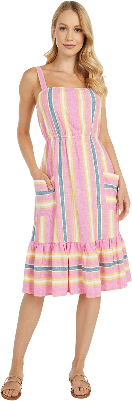 BB DAKOTA Women's Pink Lemonade Linen Stripe Dress