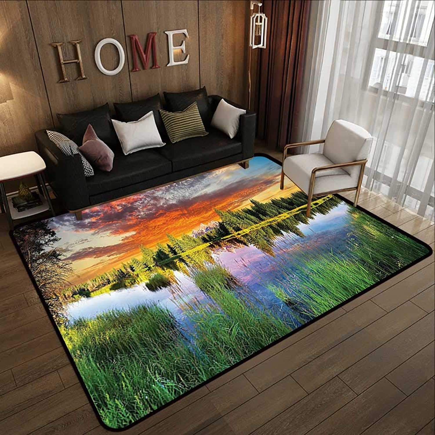 Carpet mat,Lake House Decor Collection,Calm Natural Sunrise by River Forest Trees Clouds Weeds Sunlight Reflection on Water,Multi 47 x 59  Floor Mat Entrance Doormat