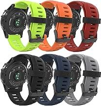 MoKo Garmin Fenix 3/Fenix 5X Watch Band, [6PACK] Soft Silicone Replacement Watch Band for Garmin Fenix 3/Fenix 3 HR/Fenix 5X/5X Plus/Fenix 6X/6X Pro/D2 Delta PX/Descent Mk1 Smart Watch, Multi Color A