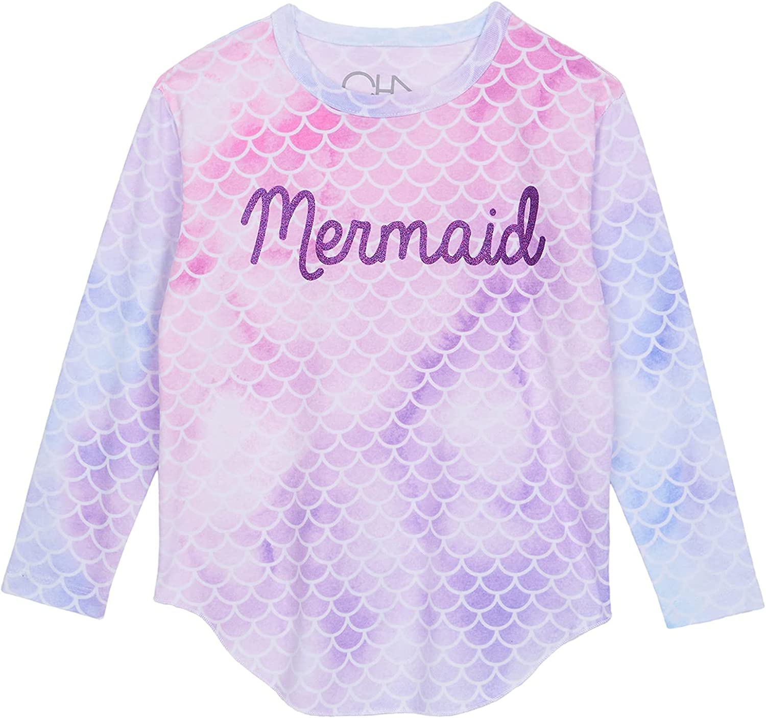 CHASER Girl's Recycled Vintage Jersey Long Sleeve Shirttail Tee (Toddler/Little Kids) Surfside Tie-Dye 6 Little Kids