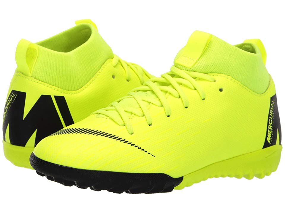 Nike Kids SuperflyX 6 Academy TF (Little Kid/Big Kid) (Volt/Black) Kids Shoes