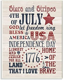 The Stupell Home Decor Stars and Stripes USA Stenciled Typography Rustic Planked Look Sign 10 X 15 Proudly Made in