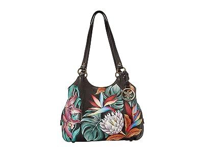 Anuschka Handbags 469 Triple Compartment Medium Satchel (Island Escape Black) Handbags