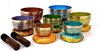 Bermoni Tibetan Colorful 7 Chakra Meditation Cuenco para curar la oración, Yoga con mazo y cojín (SING-1112MSET7)