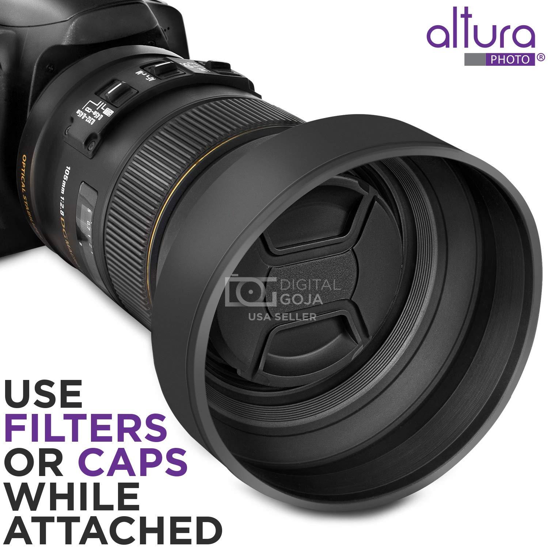 58MM Lens Hood Set (Tulip Flower + Collapsible Rubber Lens Hood)