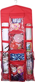 AOTUNO Double-Sided Hanging Gift Wrap Organizer Storage Bag,Wrapping Paper Storage Holder(red)