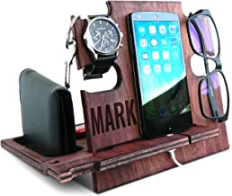 Personalized Gifts for Men, Cell Phone Stand, Wooden Desk Organizer, iPhone Dock - Nightstand Charging Station, Phone Holder, Gift Ideas for Christmas, Birthday, Anniversary (Mahogany)