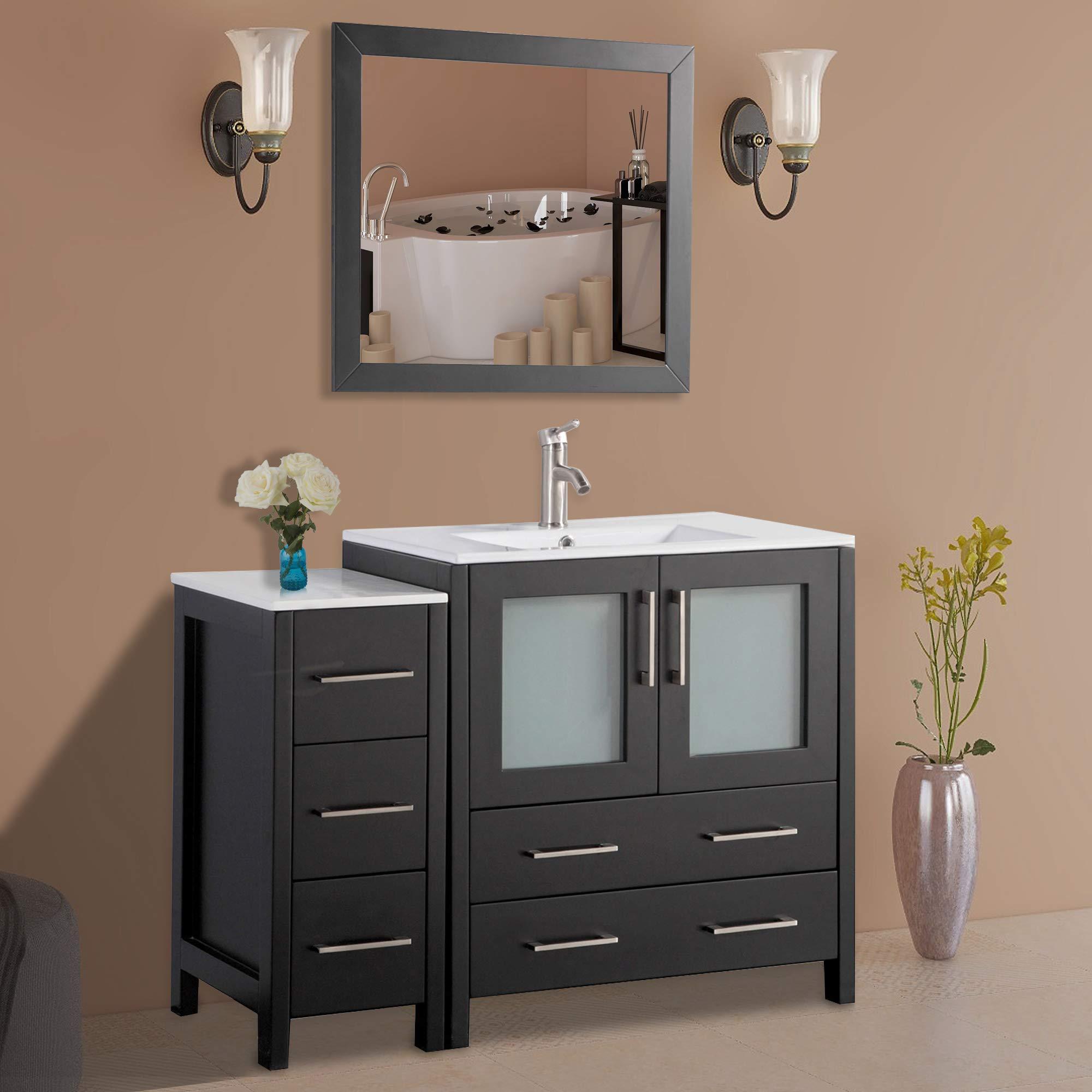 Vanity Art 42 Inch Single Sink Modern Bathroom Vanity Combo Set 1 Shelf 5 Drawers Ceramic Top Bathroom Cabinet With Free Mirror Va3030 42 E Buy Online In China At China Desertcart Com Productid 199676053