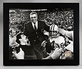 Framed Green Bay Packers Head Coach Vince Lombardi And Jerry Kramer After Super Bowl II In 1967. 8x10 Photo, Picture.