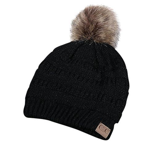 f4d462ff6a2 Choies Women s Acrylic Cat Ears Knit Black Beanie Hat