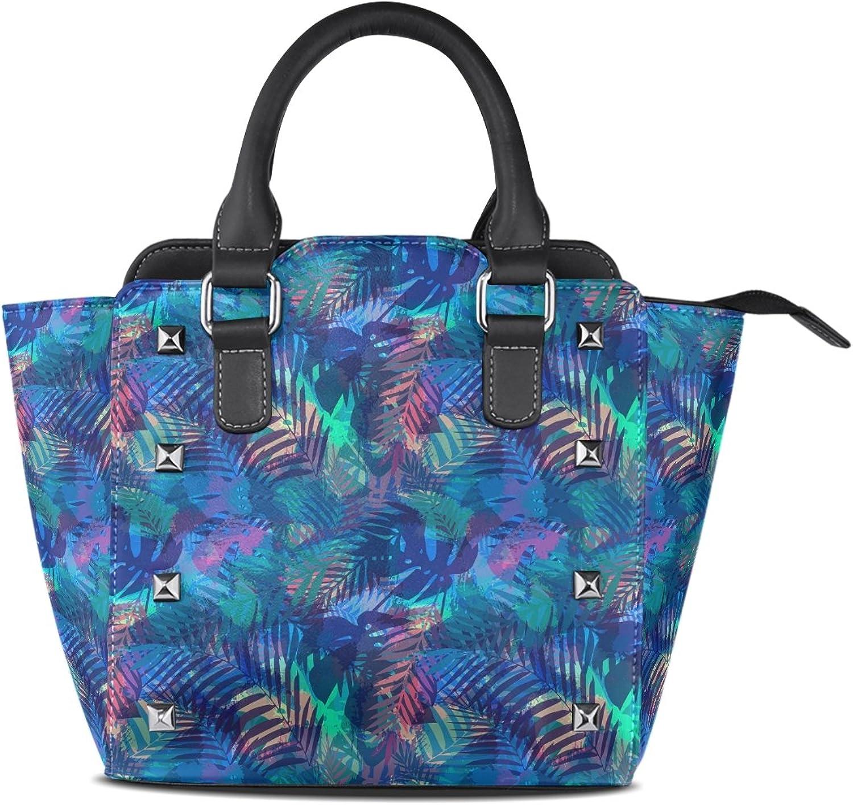 COOSUN Frauen-tropisches Muster mit Palmblättern PU-Leder Schultertasche Top-Griff Handtasche Tote Umhängetasche B076DX4HB4  Neuer Markt