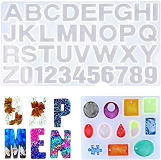 H HOME-MART 2 Pack Silicone Resin Moulds , Jewelry Making Kit, Silicone Letter Moulds Number Epoxy Resin Mould, Jewelry Ca...