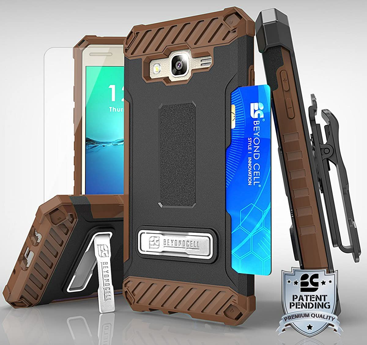 Galaxy On5 CASE Clip, Brown TRI-Shield Rugged Kickstand CASE + Tempered Glass + Belt Clip Holster + Lanyard Wrist Strap for Samsung Galaxy ON5 G550T G5500 (T-Mobile, MetroPCS, Unlocked)