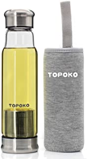 TOPOKO 18.5 Ounce Top Level Quality Stylish Environmental Borosilicate Infuser Glass Water Bottle with Silver Nylon Sleeve (Grey)